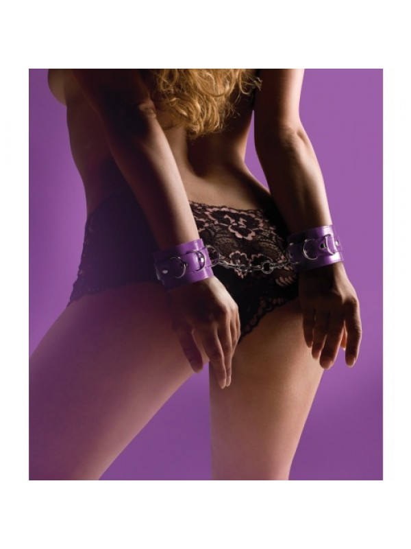 LEATHER HANDCUFFS PURPLE S4F03805